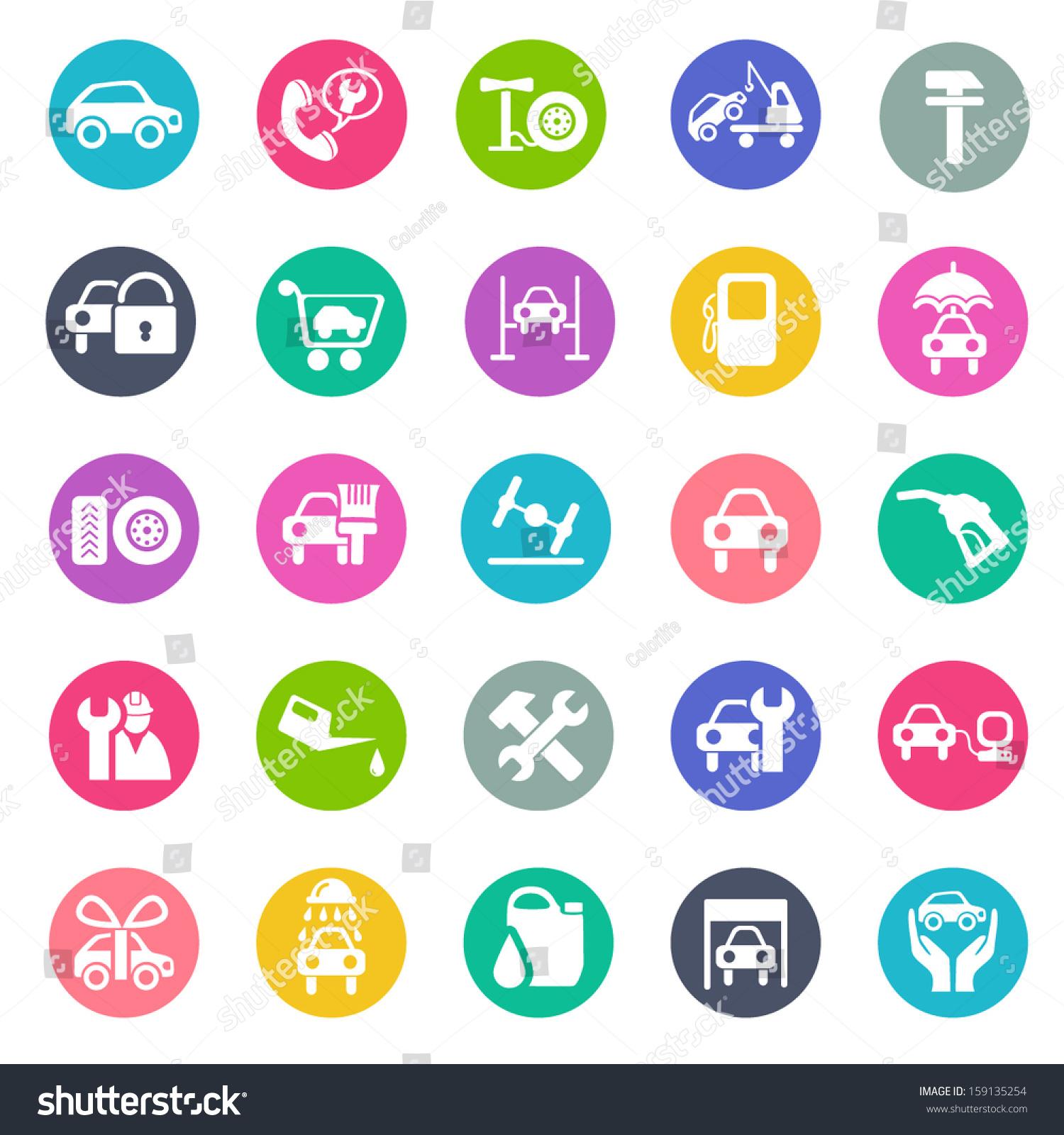 Auto Service Icon Set Flat Design Stock Vector 159135254 ...