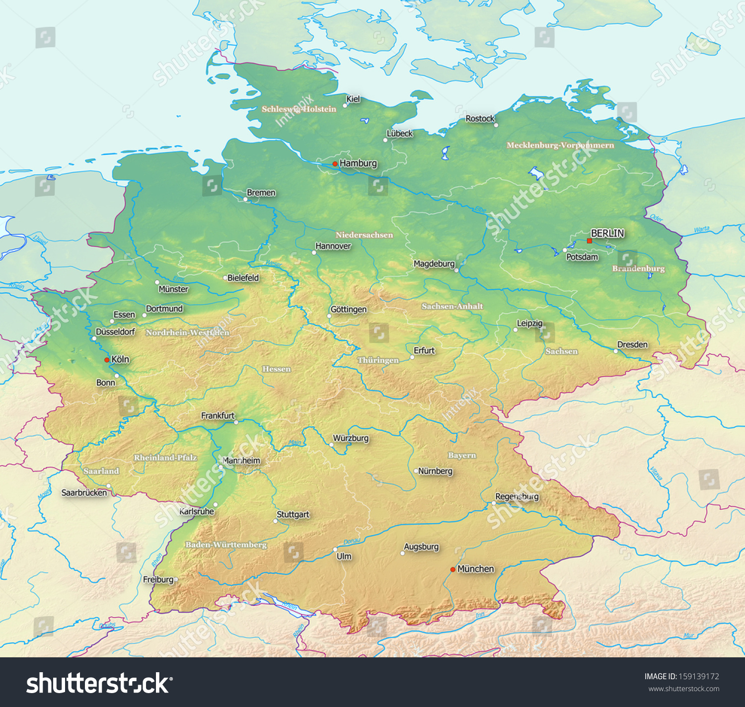Topographic Map Germany Labels Derived Raw Stock Illustration