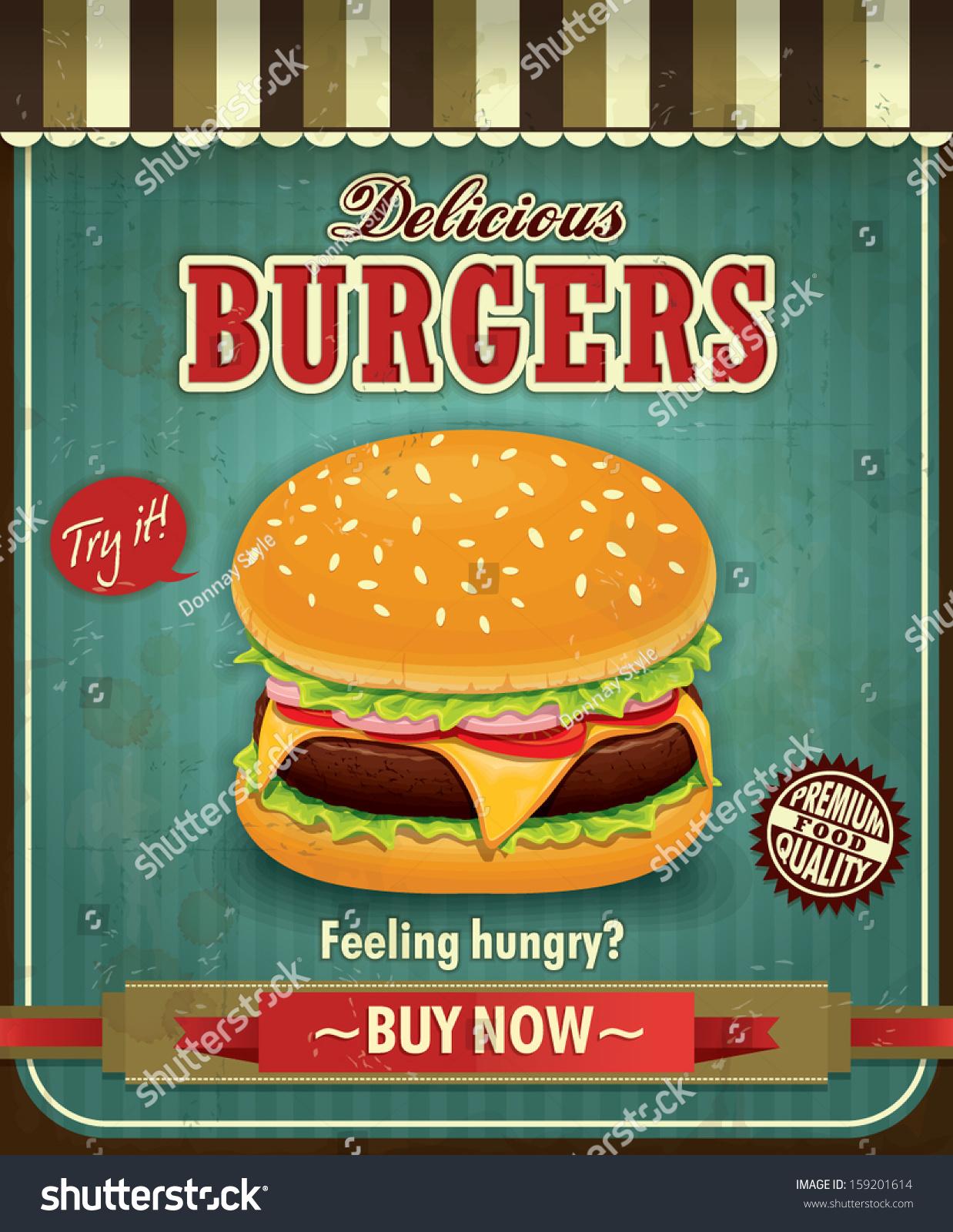 Poster design for mac - Vintage Burger Poster Design