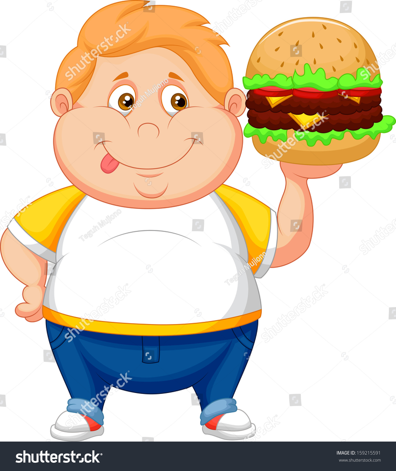 fat boy smiling ready eat big stock vector 159215591