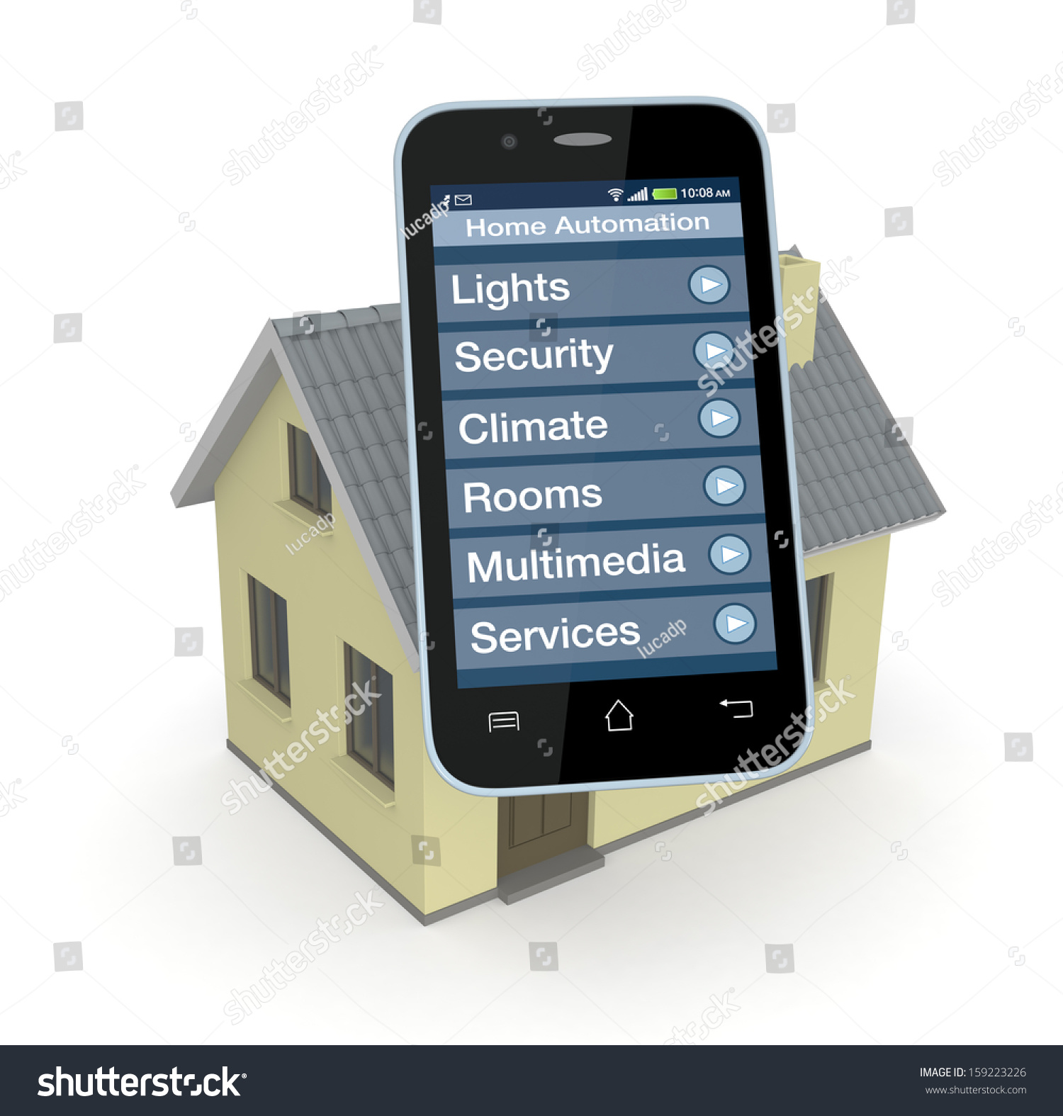 One House And Smartphone With A Software For Home