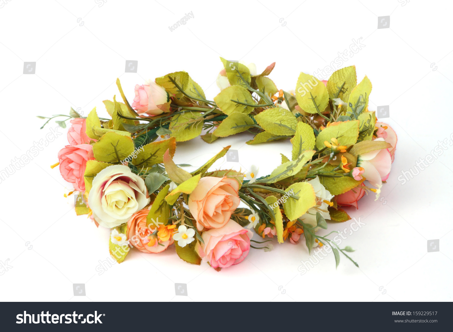 Forest coronal colorful fake flower crown stock photo edit now forest coronal or colorful fake flower crown isolated on white background izmirmasajfo