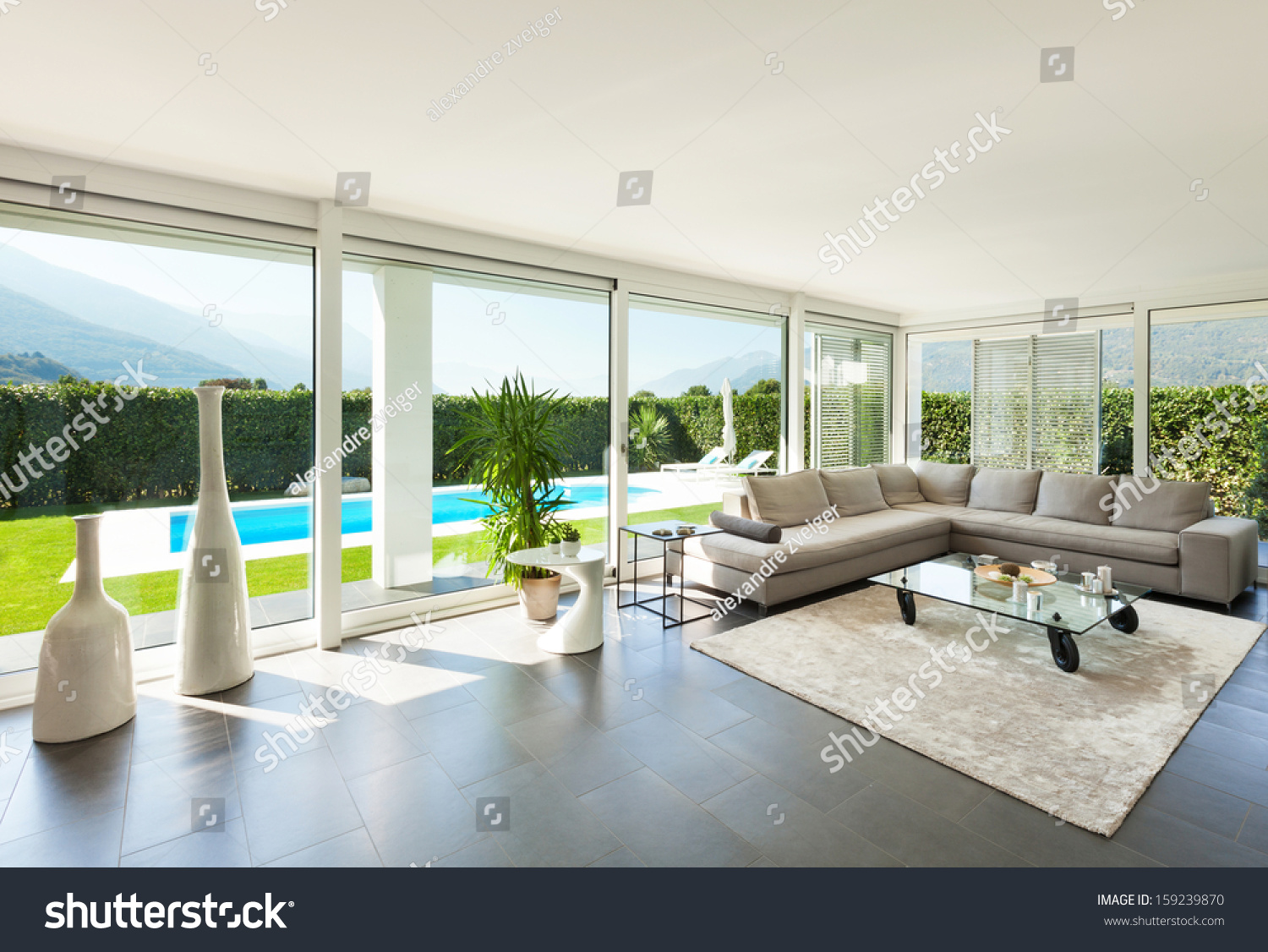 Modern villa interior beautiful living room stock photo 159239870 shutterstock - Modern villa interieur ...