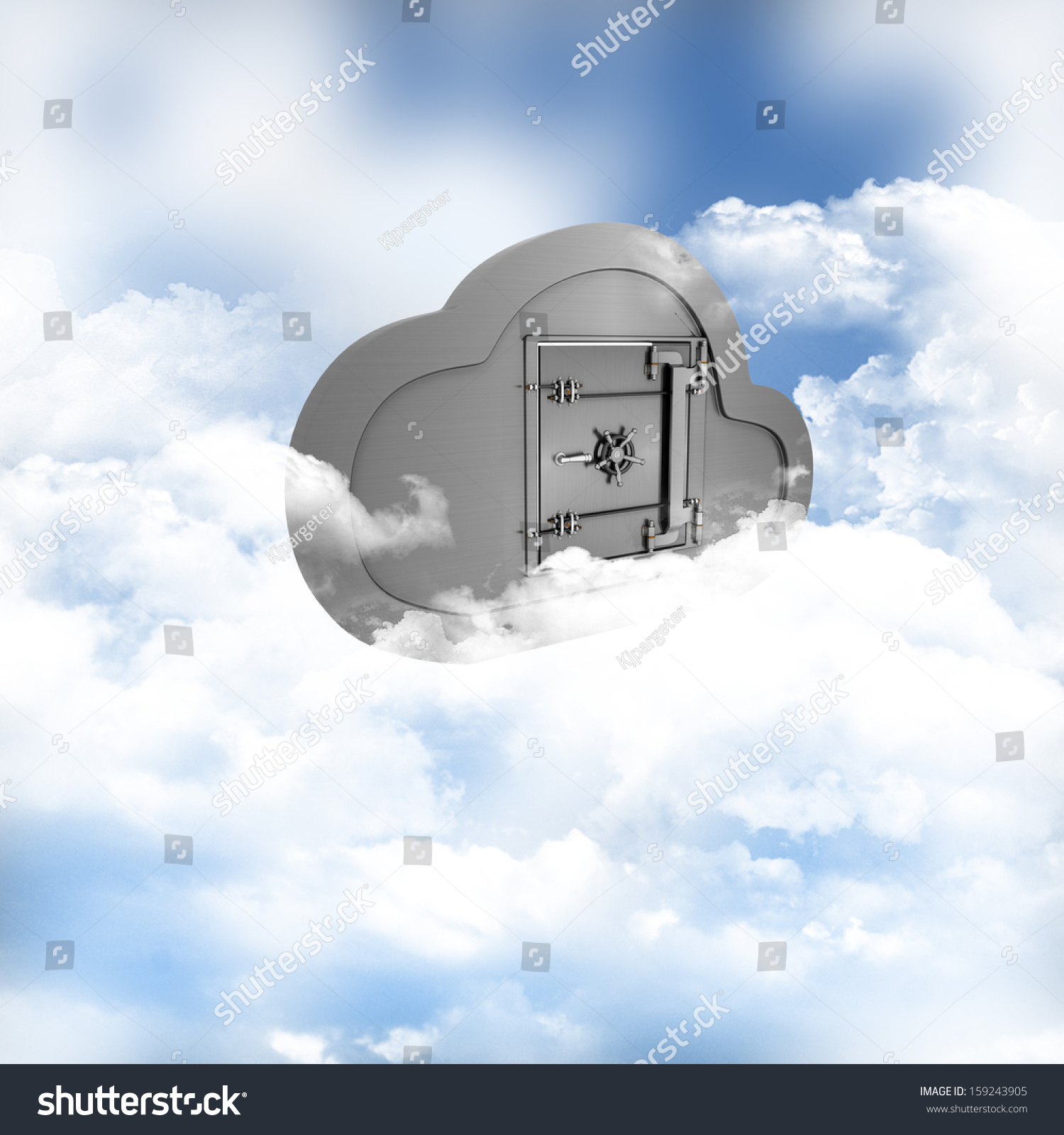 3d Render Of A Concept Of Online Storage In The Clouds
