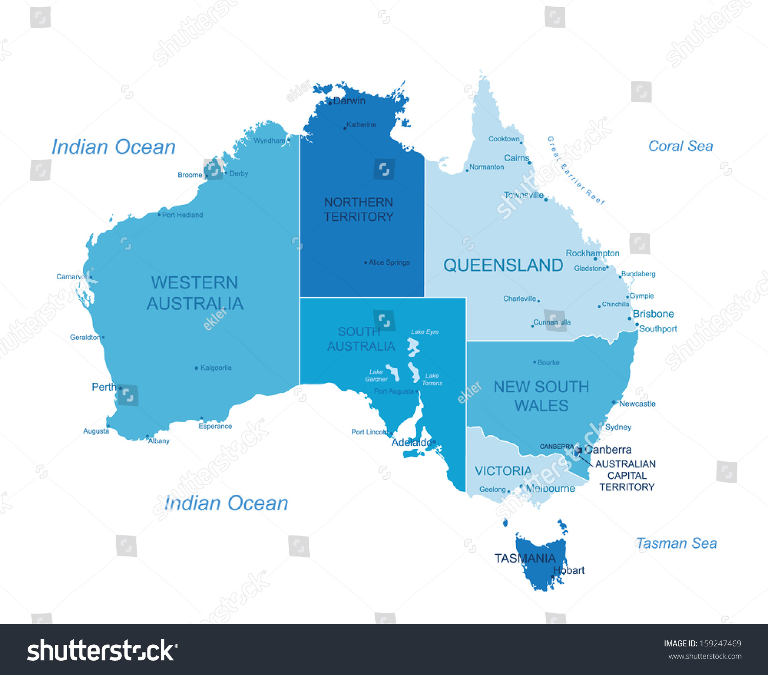 Detailed Map Australia.Australia Highly Detailed Map Elements Separated Stock Vector