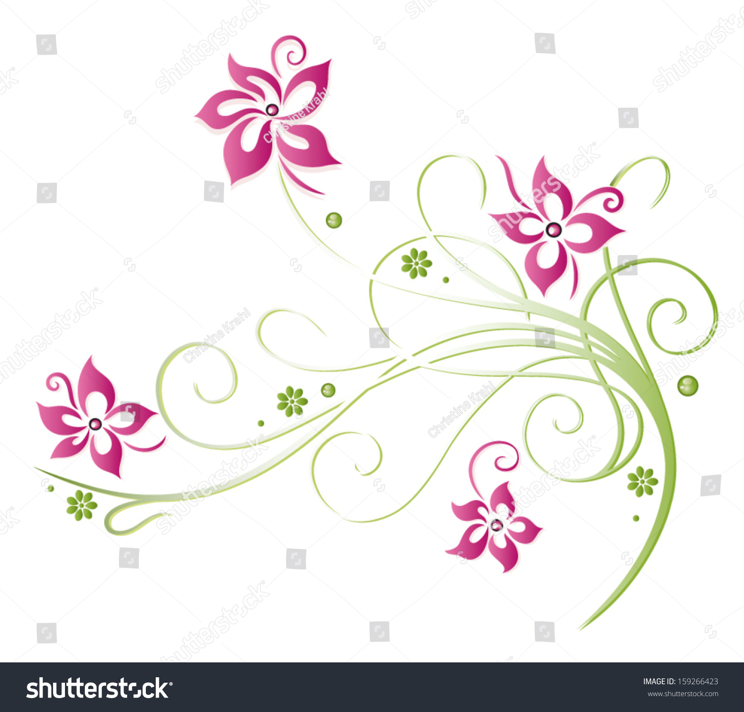 Summer Flowers With Green Pink Border Stock Vector 159266423