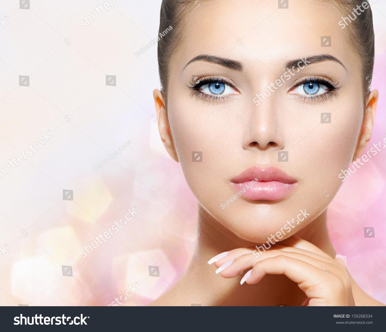 Beauty portrait beautiful spa woman touching stock photo for Skins beauty salon