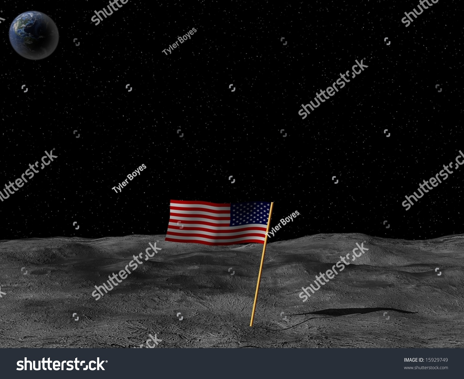 An American Flag On The Moon With Small Earth In View ...