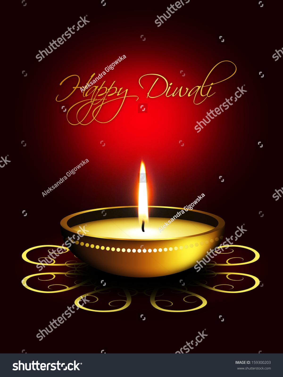 Oil Lamp Diwali Greetings Over Dark Stock Illustration 159300203