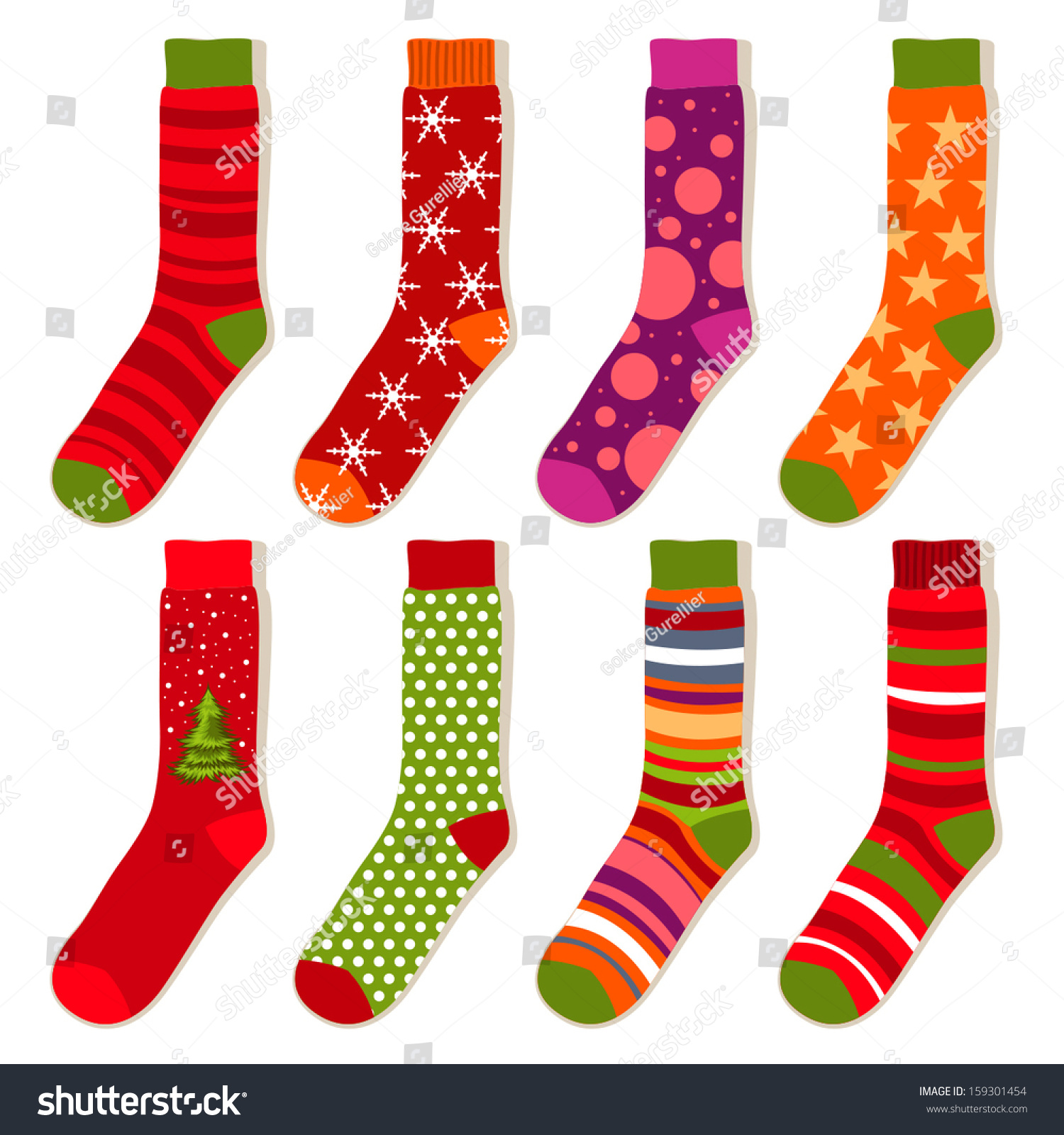 Christmas Stockings Clipart Free Stock Vector Vector Christmas Stockings