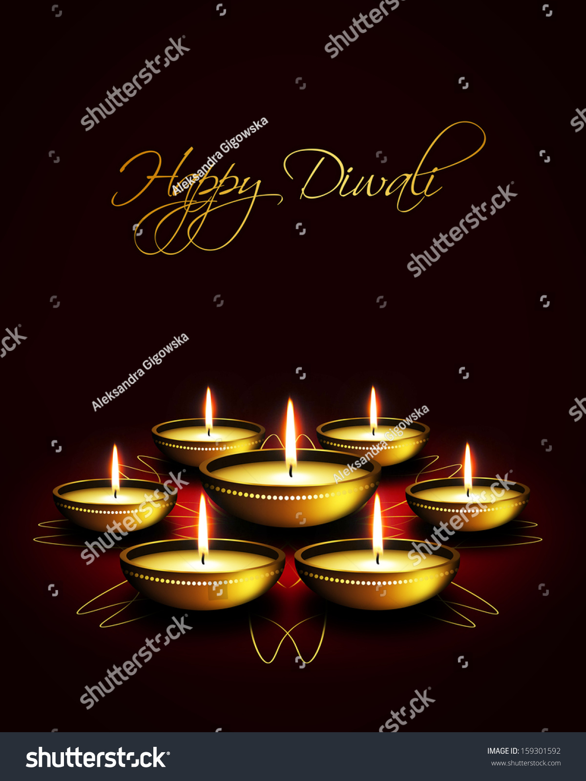 Oil Lamp Diwali Greetings Over Dark Stock Illustration 159301592