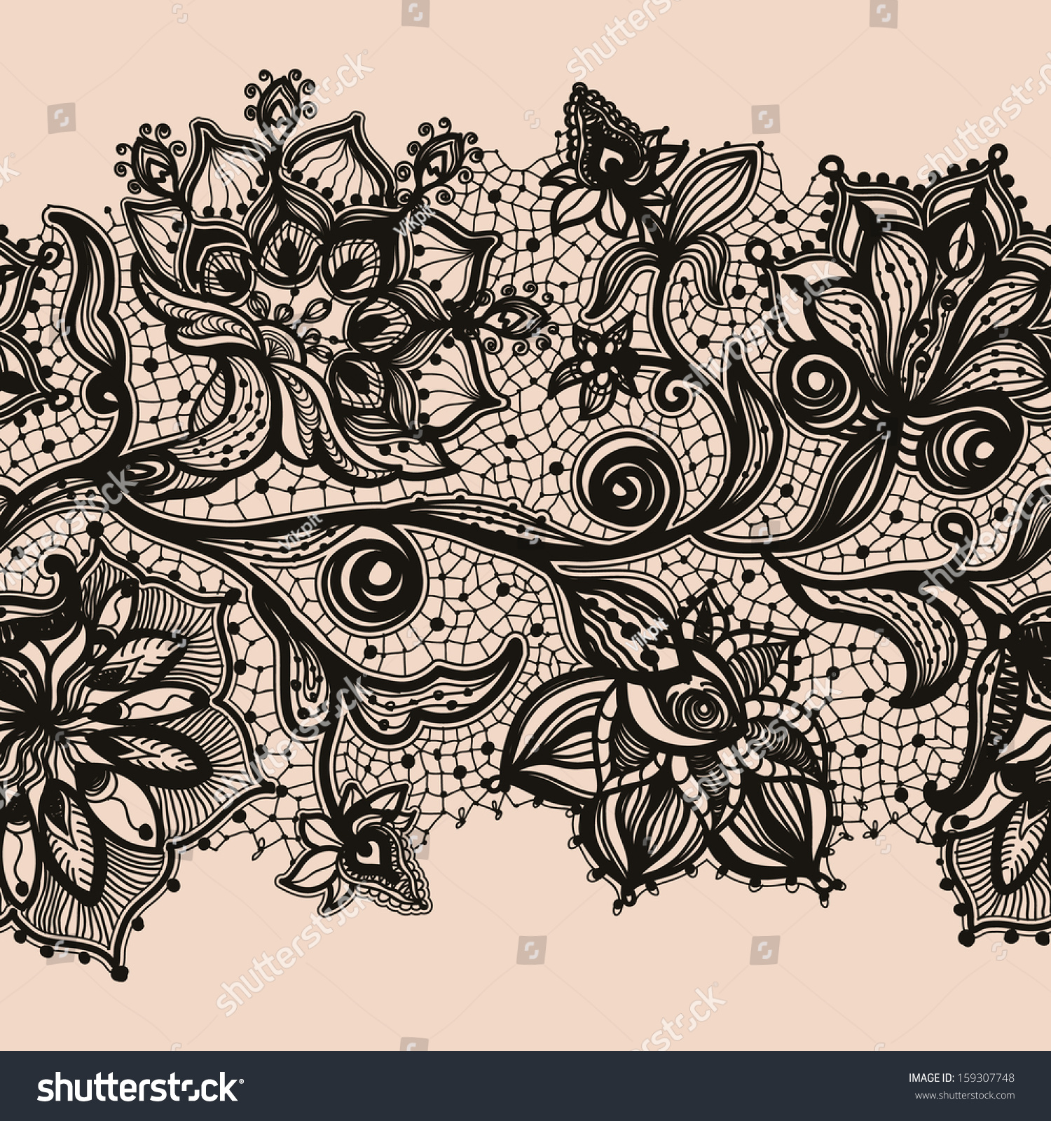 Abstract Lace Ribbon Seamless Pattern Elements Stock Vector ...