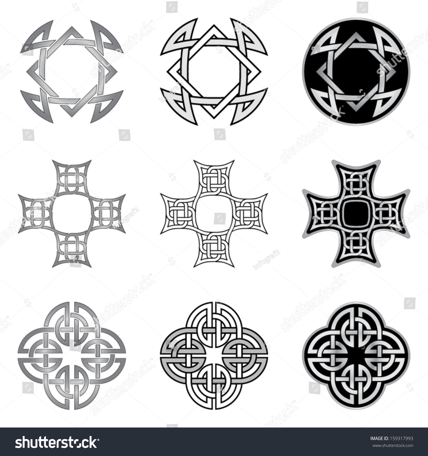 Celtic Knot Patterns Templates Stock Vector Royalty Free 159317993