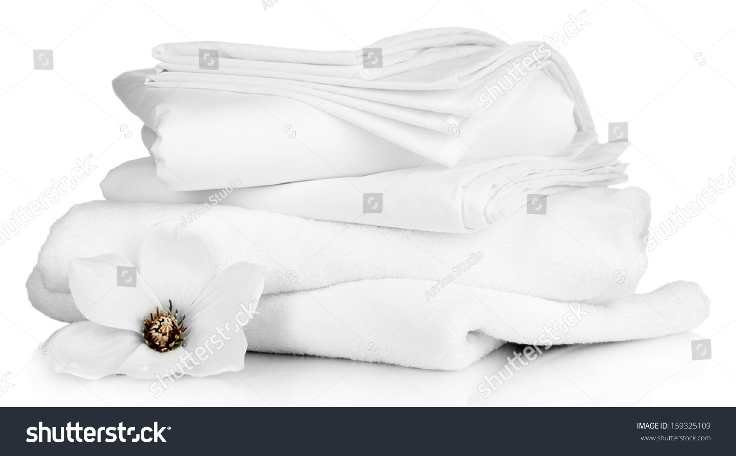 Stack clean bedding sheets towels isolated stock photo 159325109 shutterstock - Wash white sheets keep fresh ...
