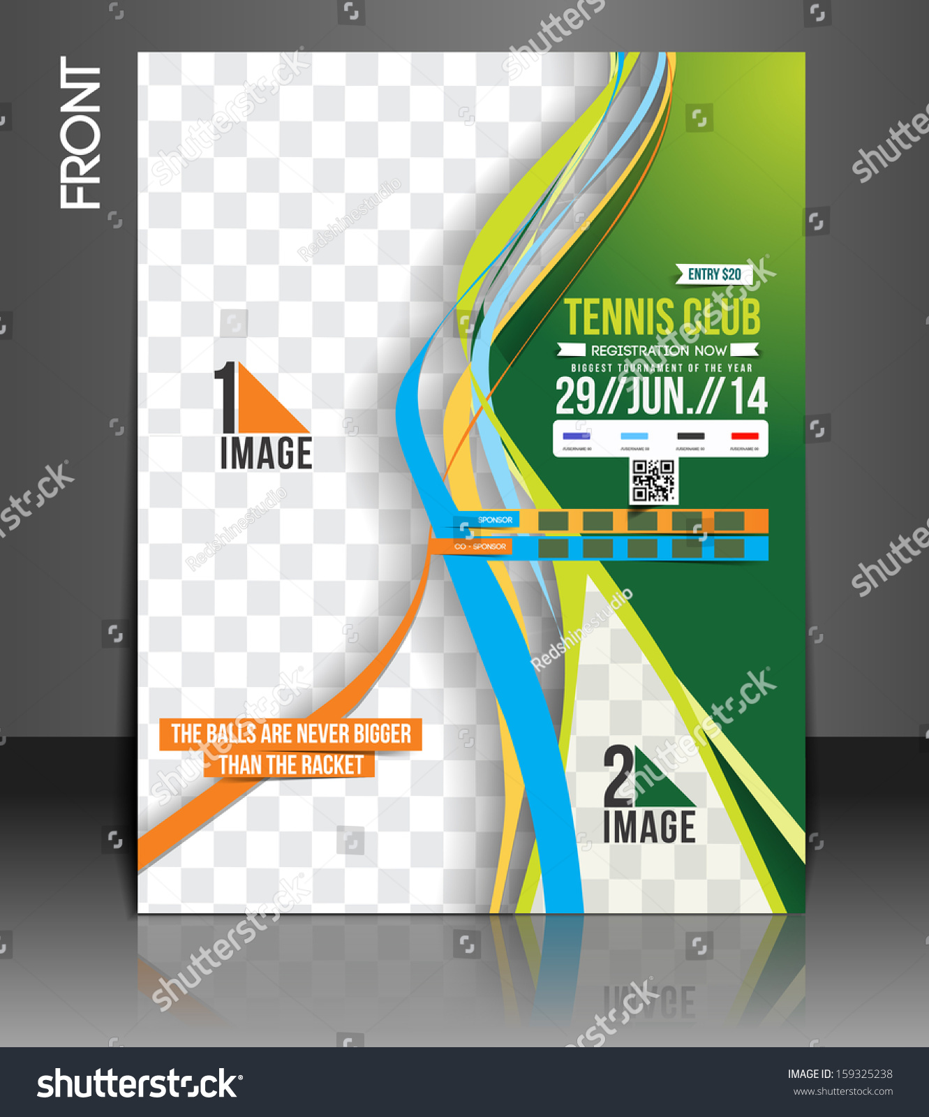 Tennis Competition Front Flyer Template Stock Vector