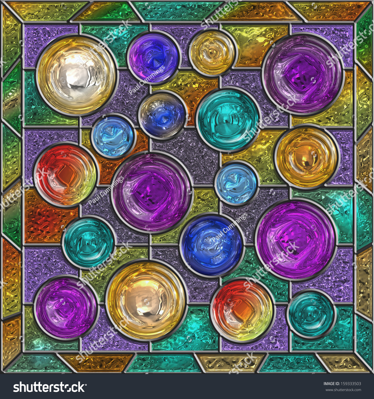 Stained Glass Window Panel With Circular Sections Stock