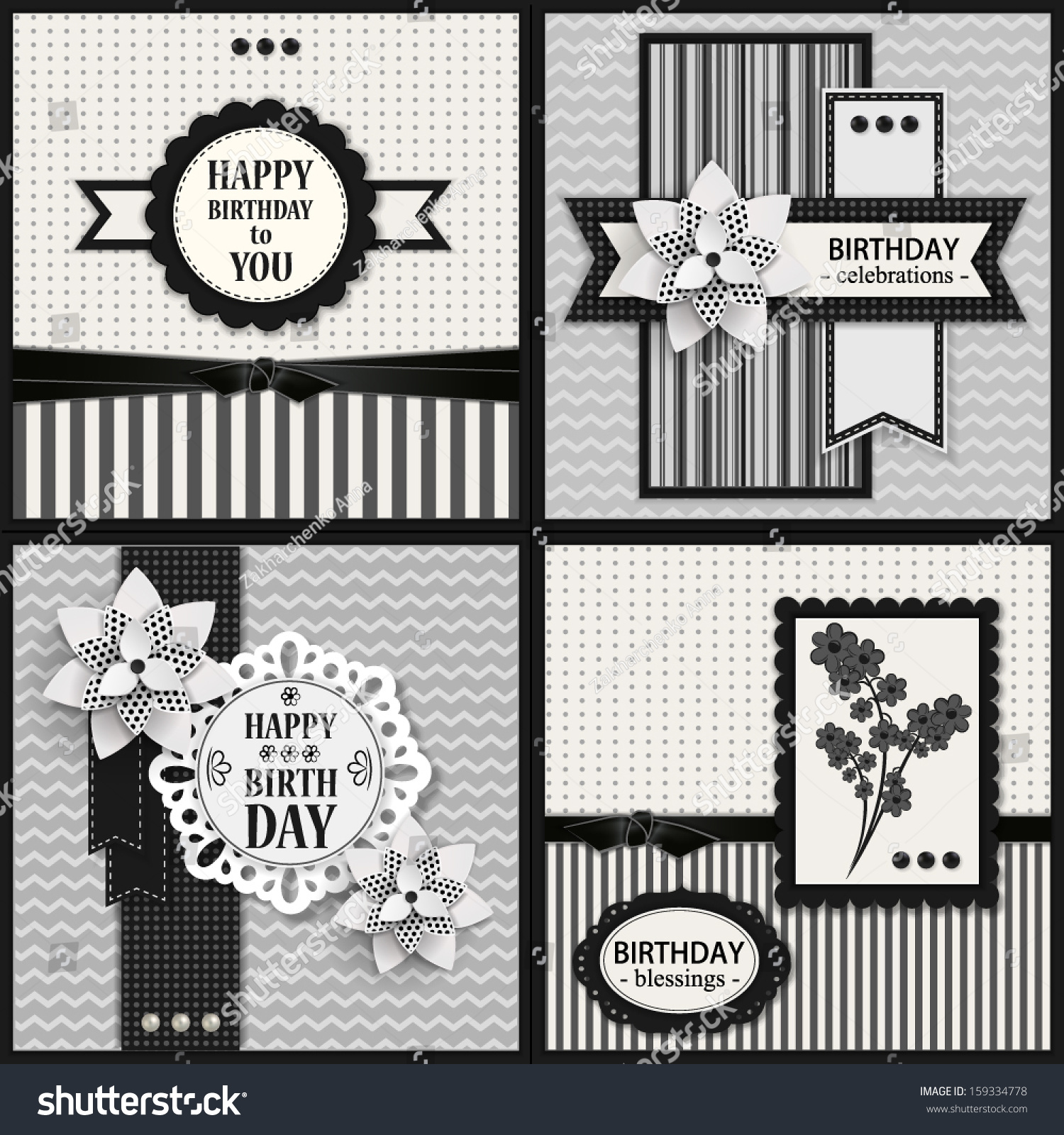 Set Of Four Black And White Birthday Cards Template Vector Illustration