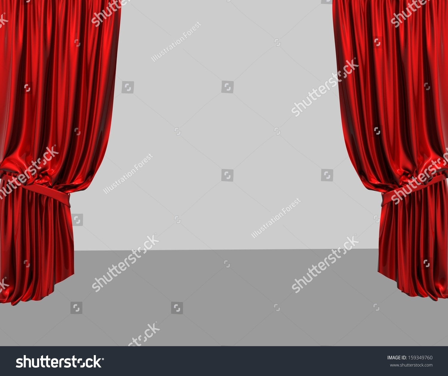 Red stage curtain with lights - Empty Product Presentation Stage With Red Curtains And Light Grey Background