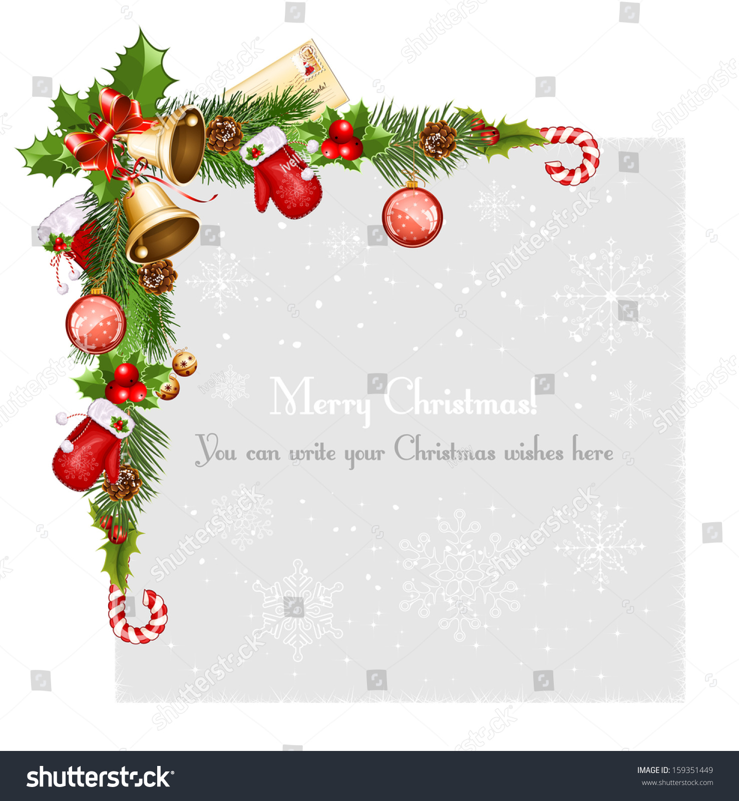 Why is holly a traditional christmas decoration - Decorative Border From A Traditional Christmas Objects Vector Illustration