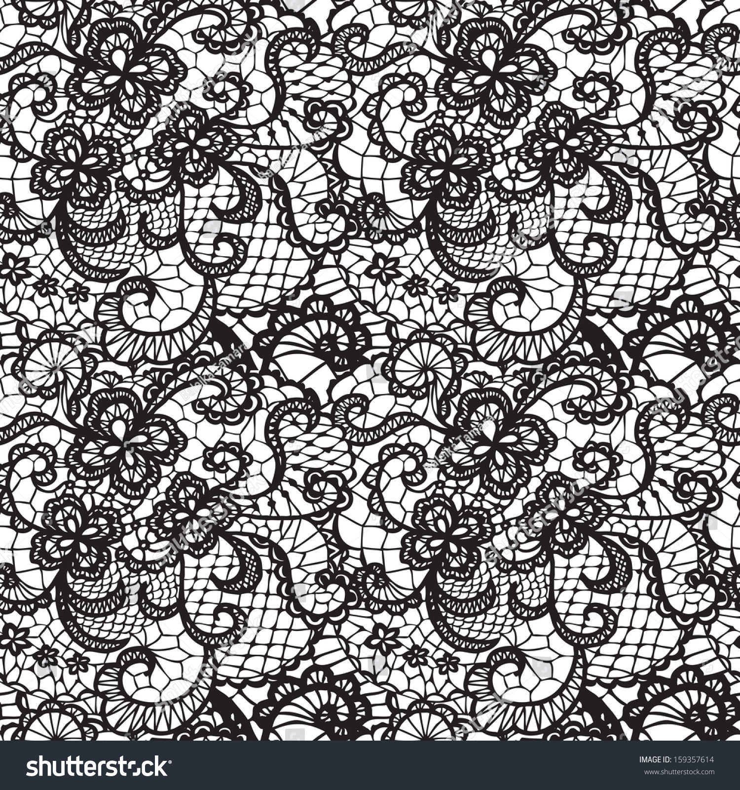 Lace Black Seamless Pattern Flowers On Stock Vector 159357614 ...