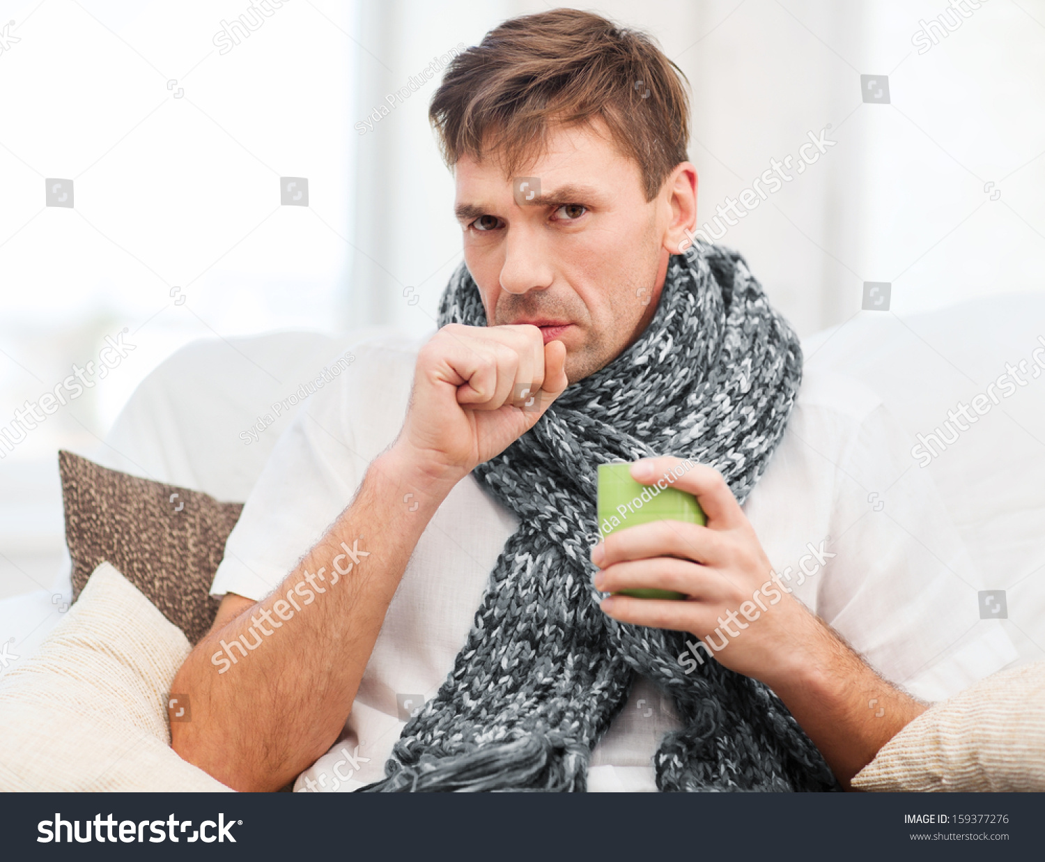 healthcare and medicine concept - ill man with flu at home #159377276