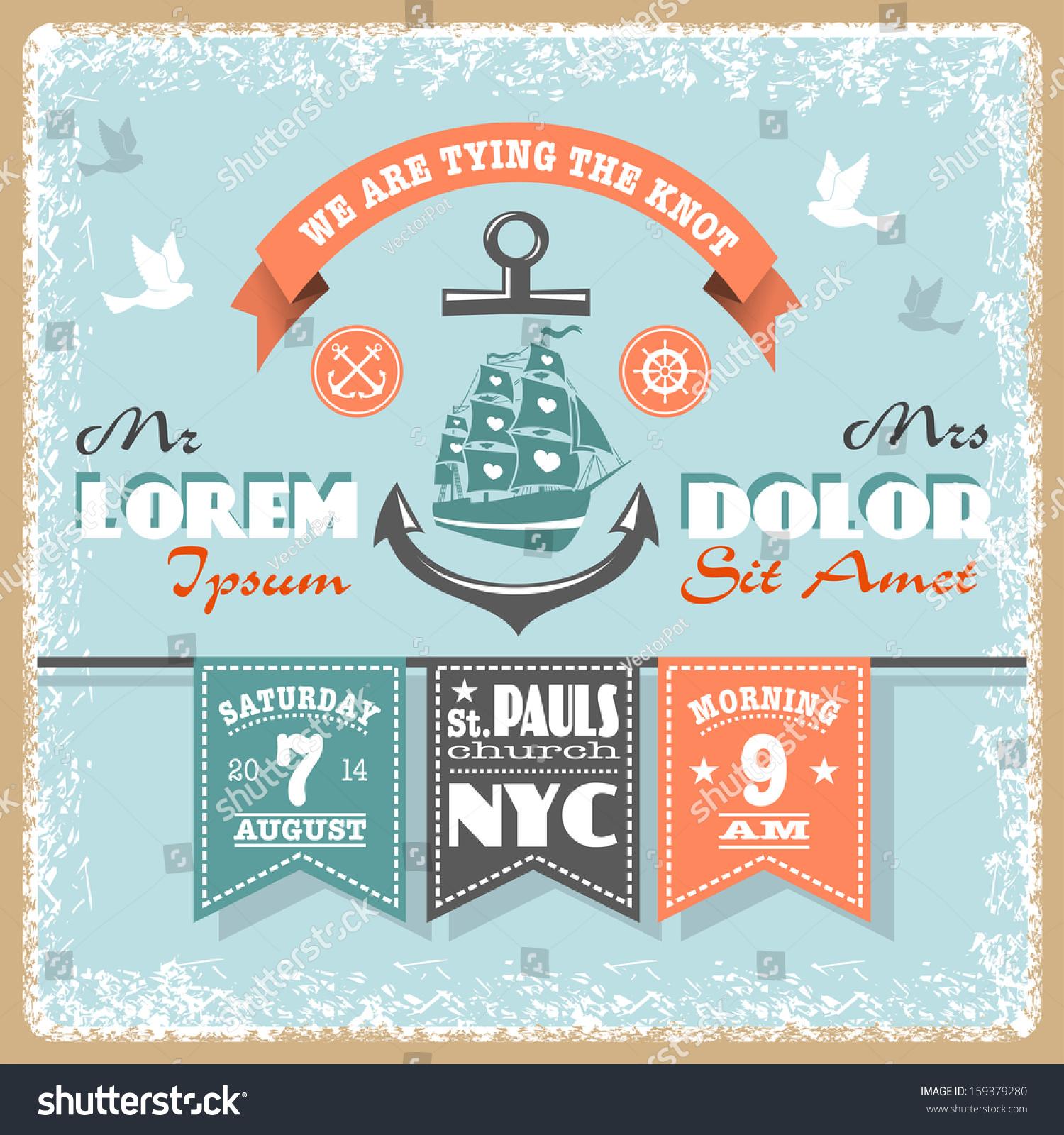nautical wedding invitation designed nautical elements stock