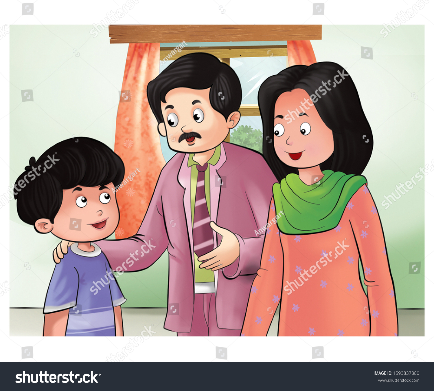 Illustration Father Mother Talking Child Stock Illustration 1593837880