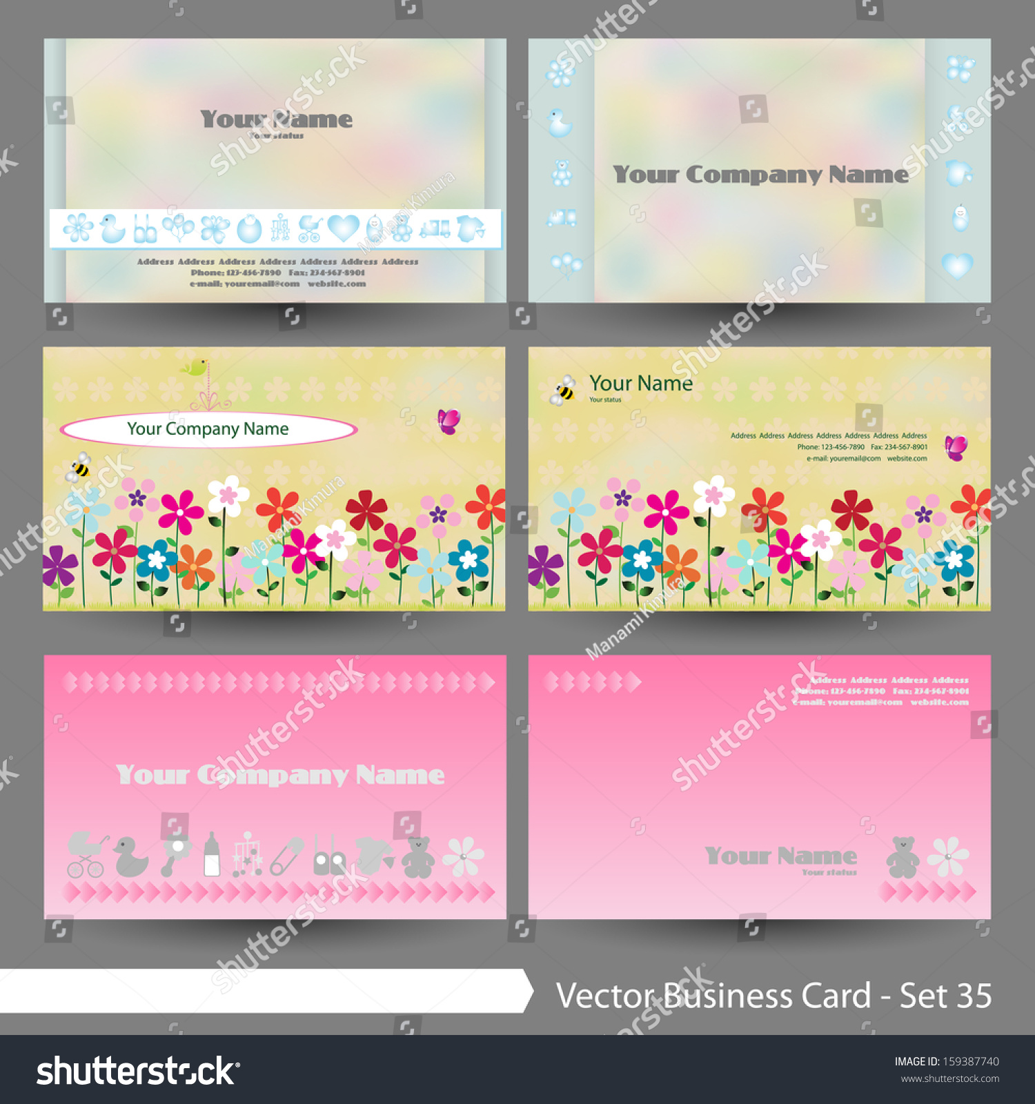 Vector Illustration Business Card Template Set Stock Vector ...