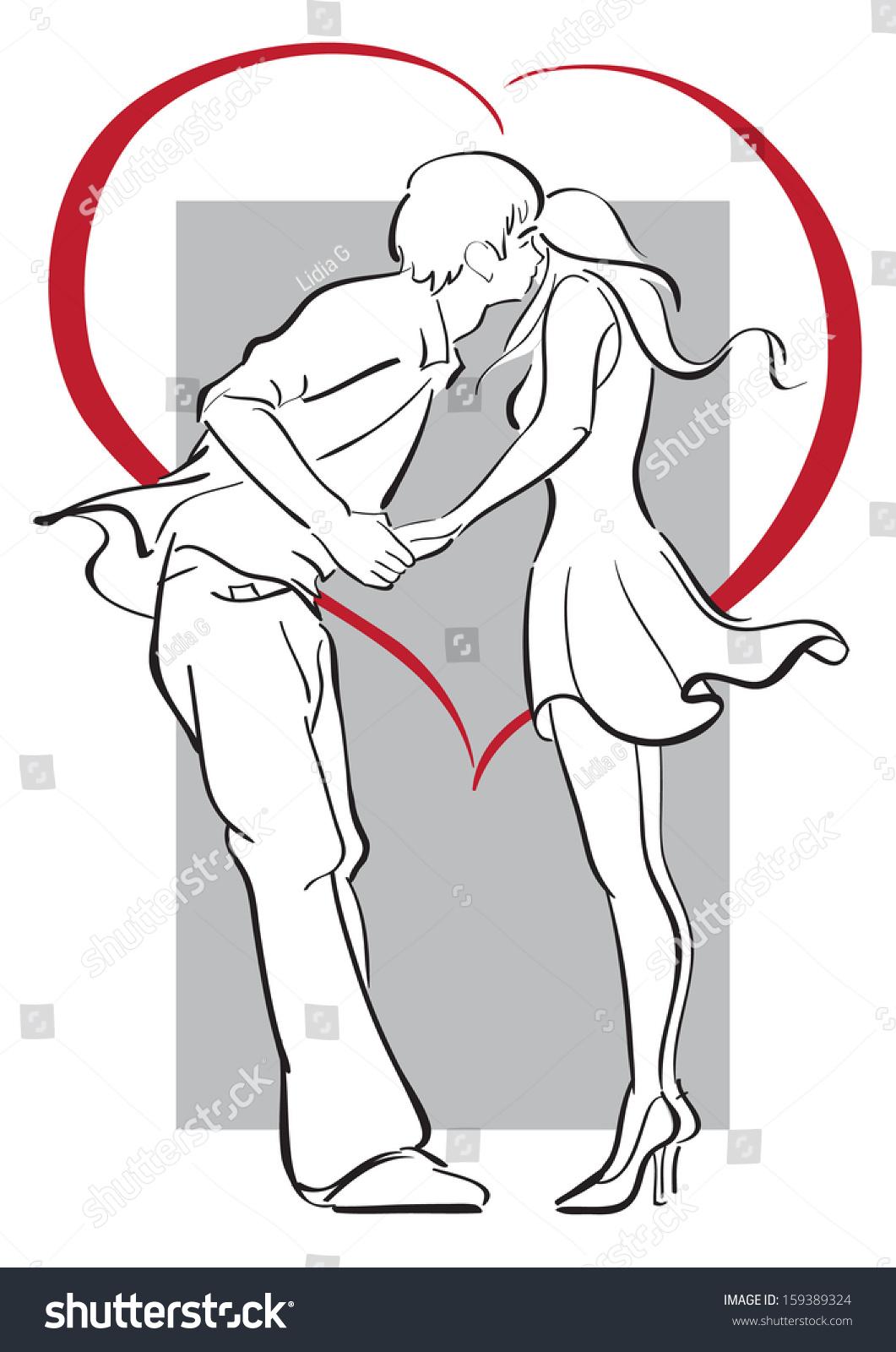 Line Art Editor : Kissing couple silhouette heart line modern stock vector