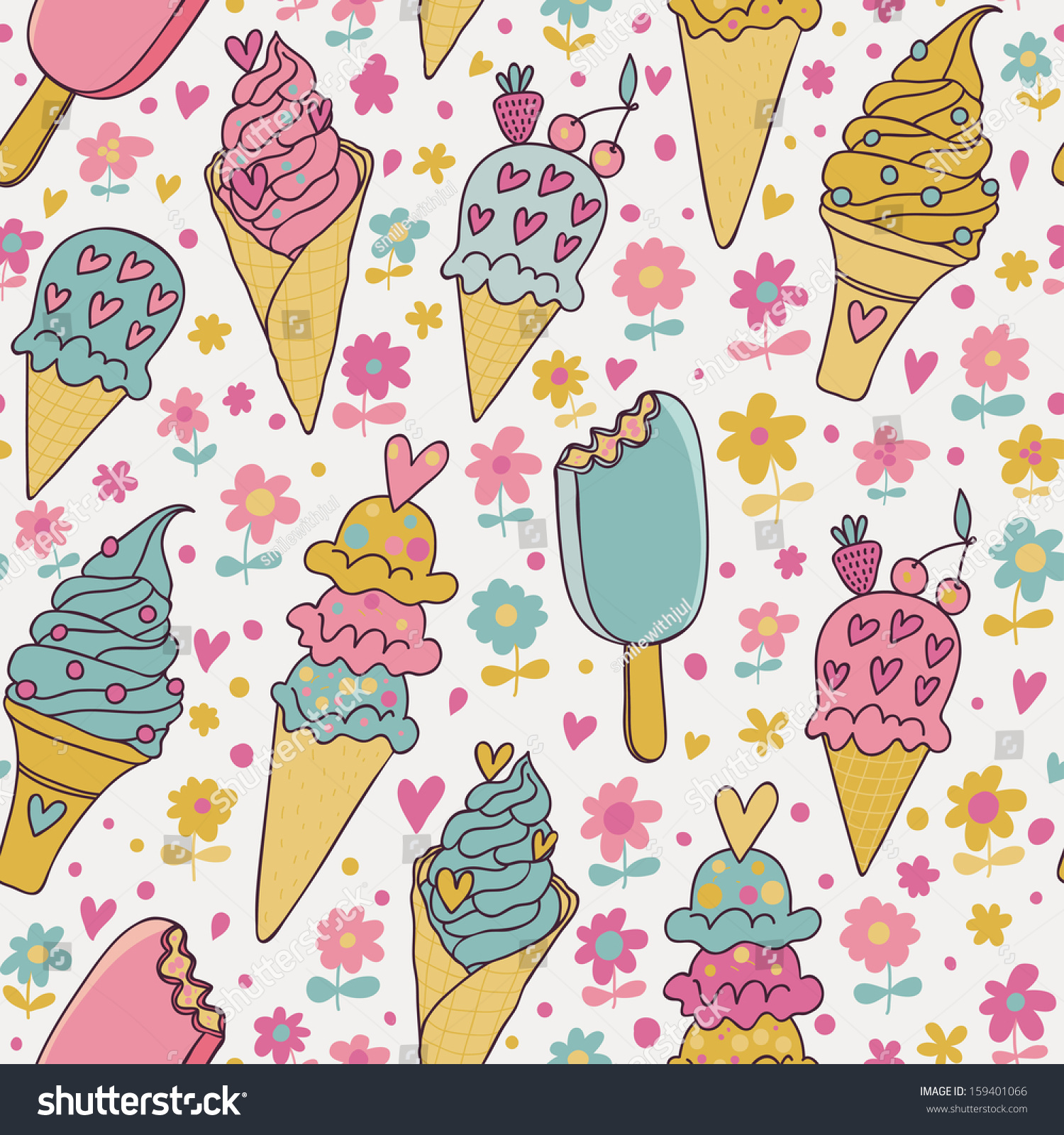Cute Colorful Ice Cream Seamless Pattern Background: Tasty Seamless Pattern Made Of Cute Ice Cream In Pastel