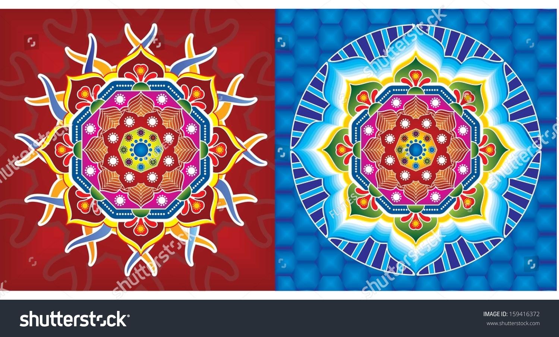 rangoli 2013 indian culture art pattern stock vector 159416372