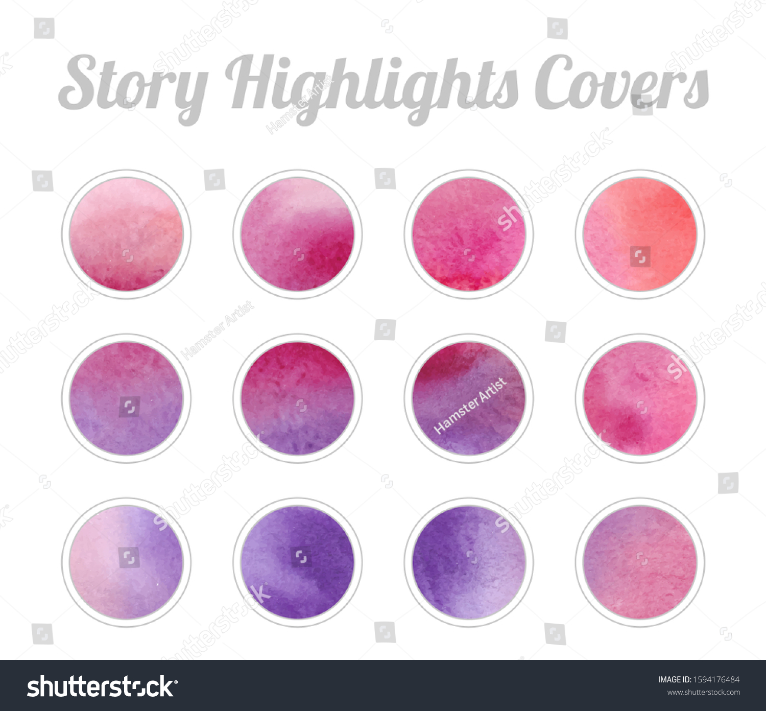 Set Instagram Story Highlights Covers Icons Stock Vector Royalty Free 1594176484