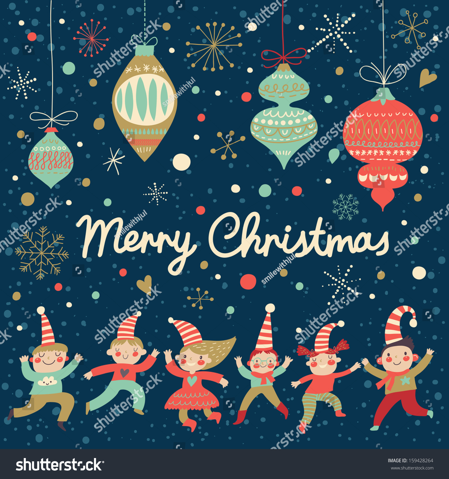 Vintage Merry Christmas Card Vector Funny Stock Vector (Royalty Free ...