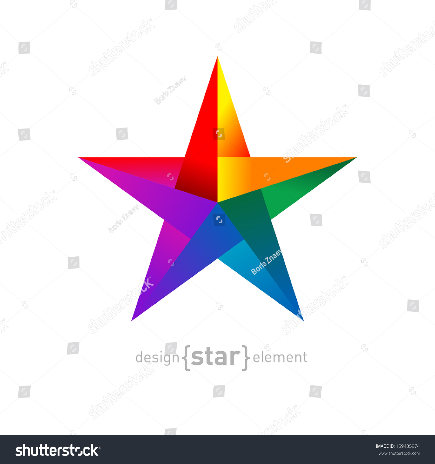 Vector Origami Rainbow Star Paper On Stock Vector ... - photo#29