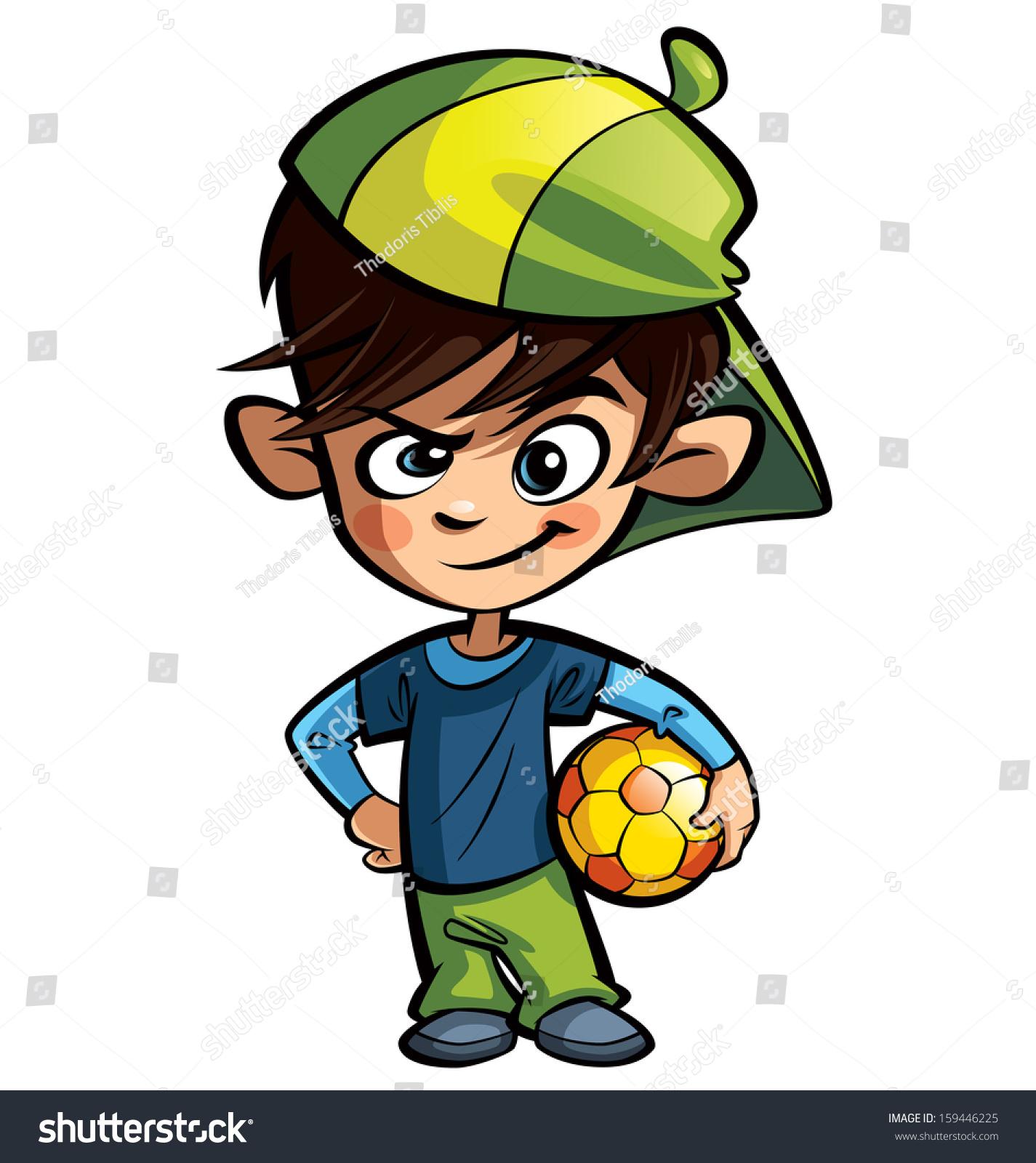 Cool Cartoon Boy Character Wearing Cap Stock Illustration