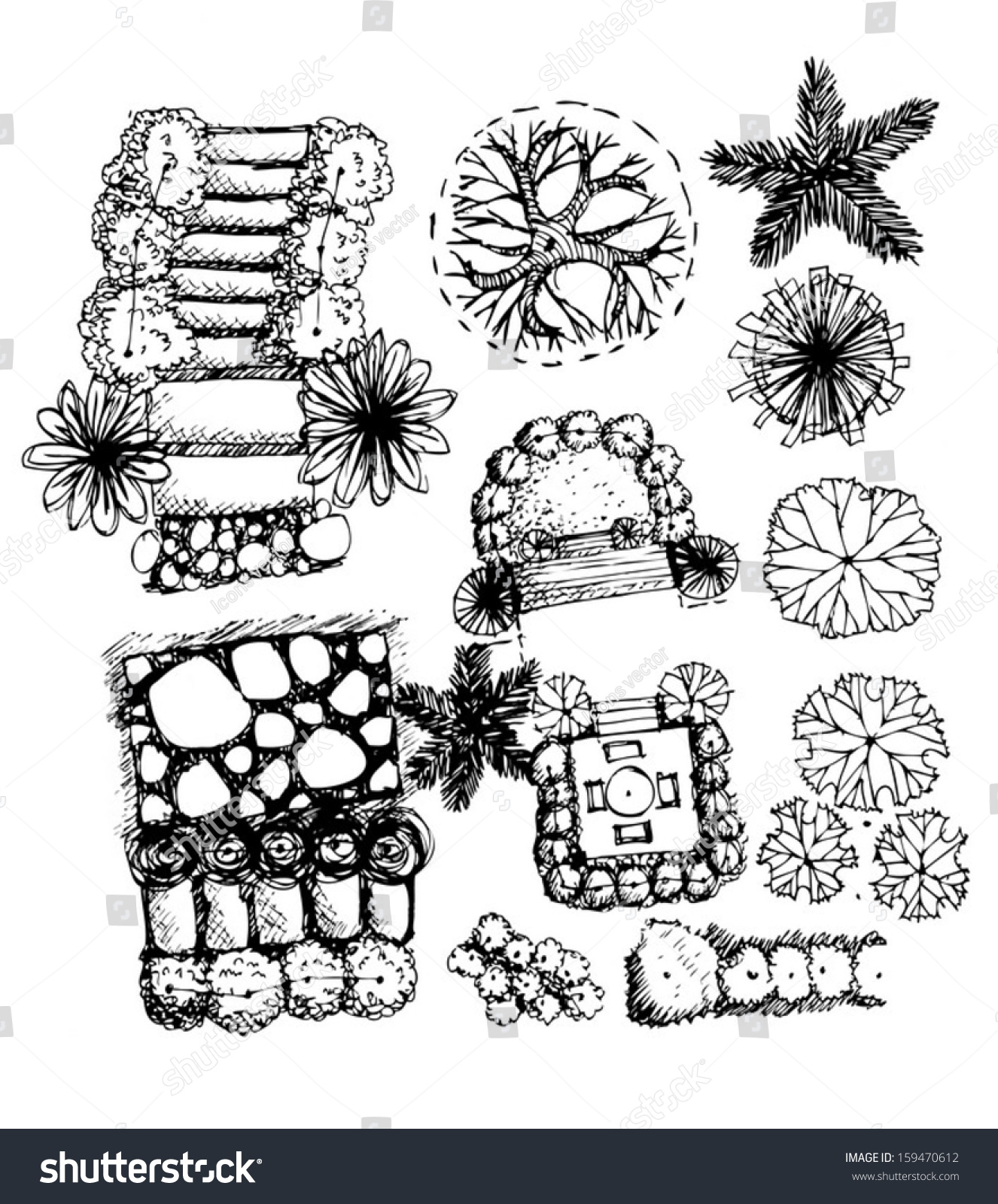 Plan Of Landscape And Garden Trees Top View For Architecture Design Projects