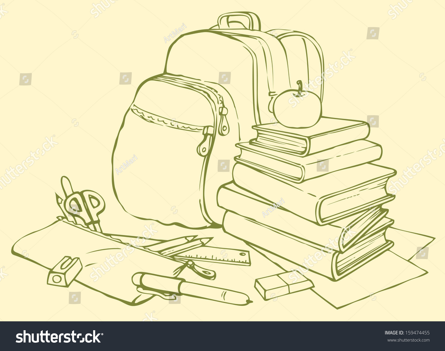 Books Picture Of Book Pencil And Apple Coloring Page