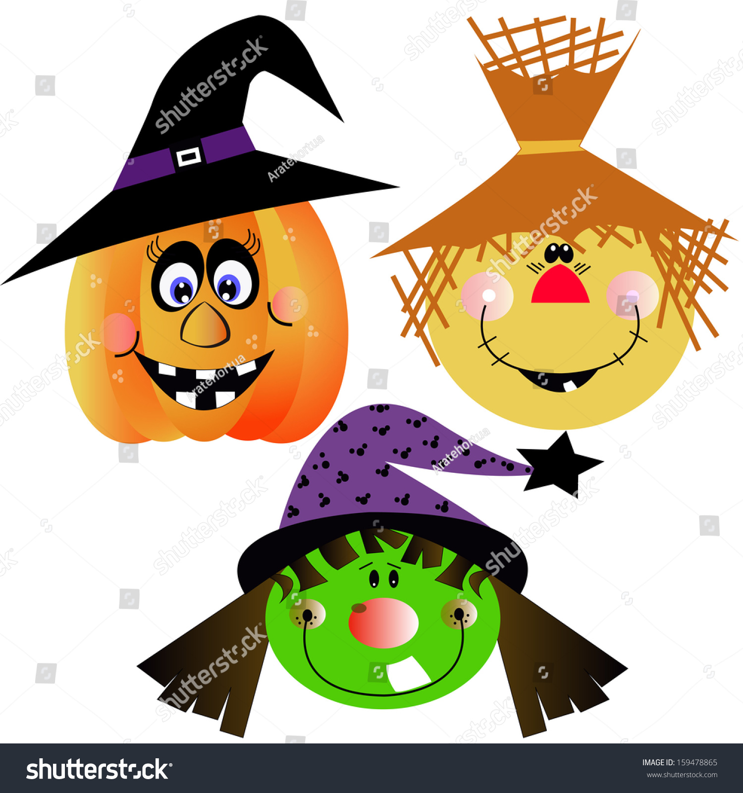 vector cartoon funny halloween pumpkin witch and scarecrow faces - Halloween Witch Cartoon