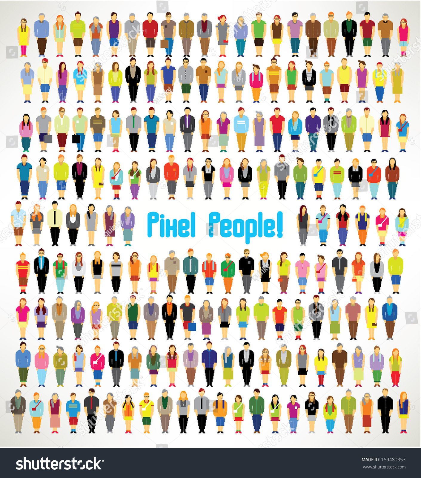 Large group pixel people gather together stock vector for Pixel people interior designer