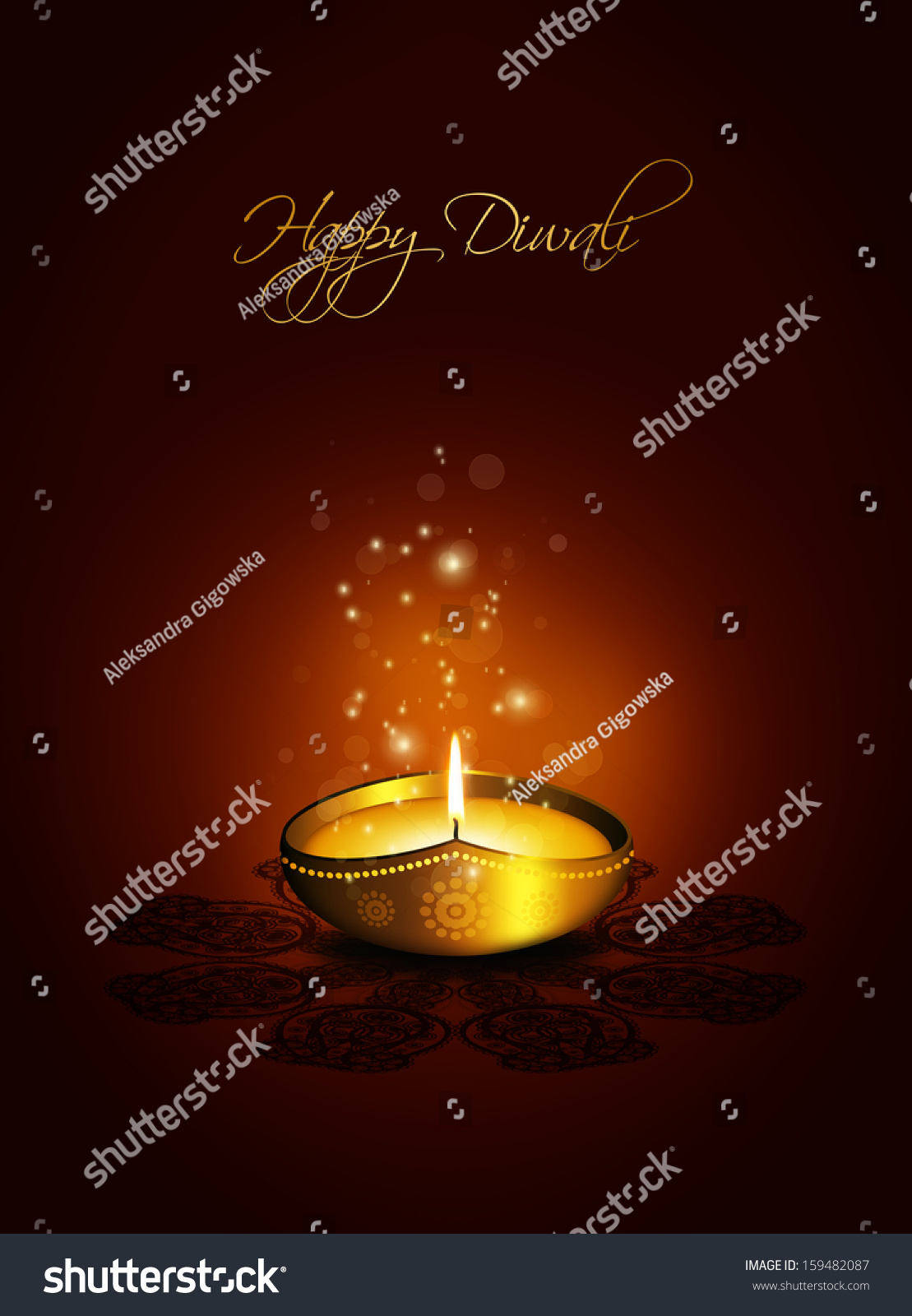 Oil Lamp Place Diwali Greetings Over Stock Illustration 159482087