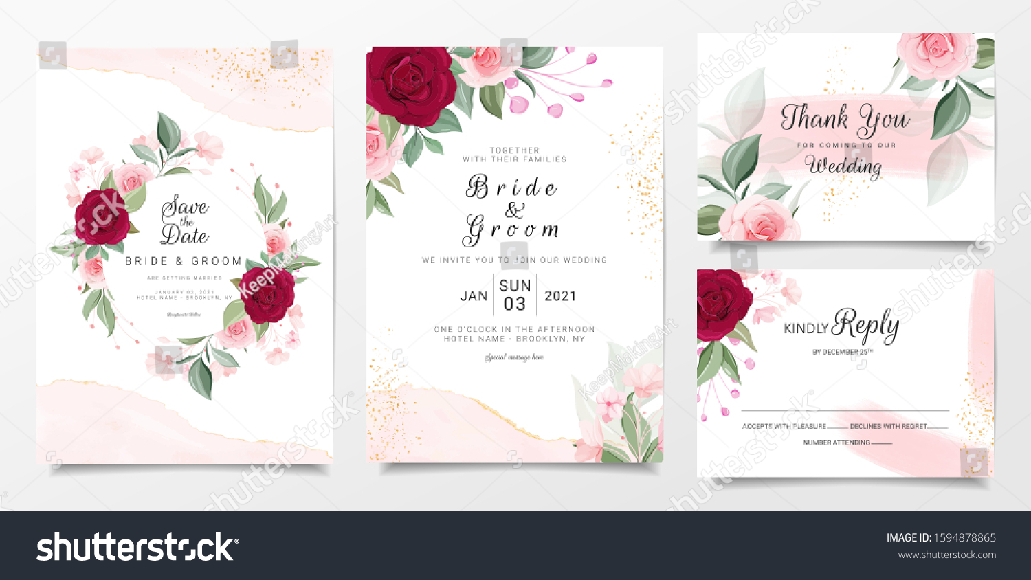 Floral Wedding Invitation Card Template Set Stock Vector (Royalty Free)  1594878865