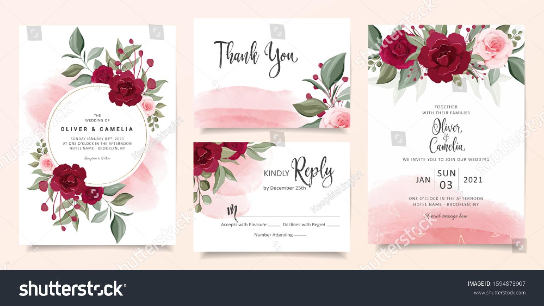 Beautiful Wedding Invitation Card Template Set Stock Vector Royalty Free 1594878907
