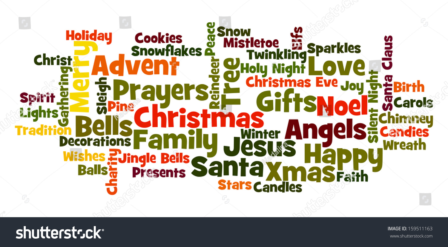 Christmas Word Cloud Frequent Words Related Stock Illustration ...