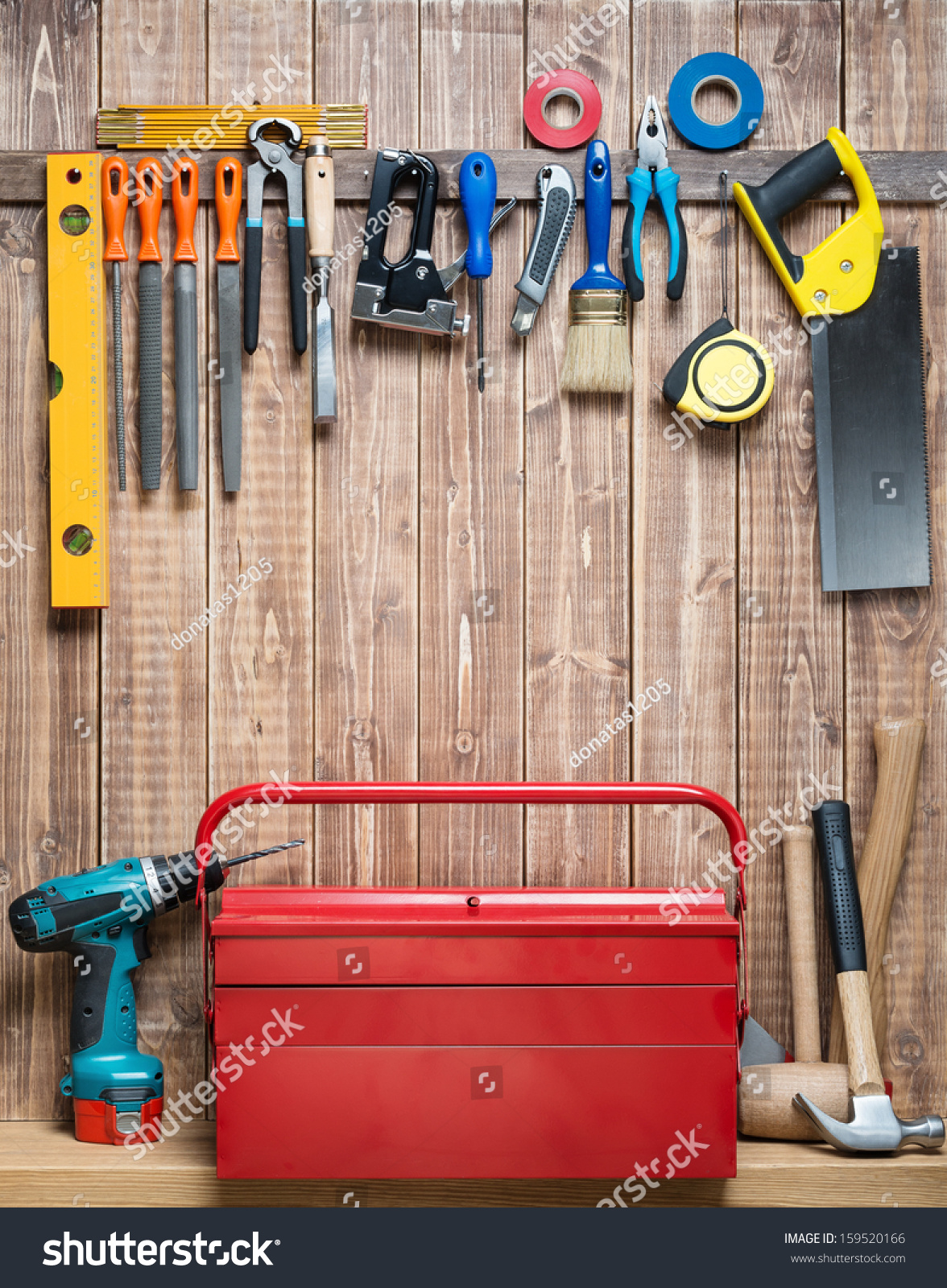 hanging tools on wall carpentry tools hanging on wall stock photo 159520166 4145