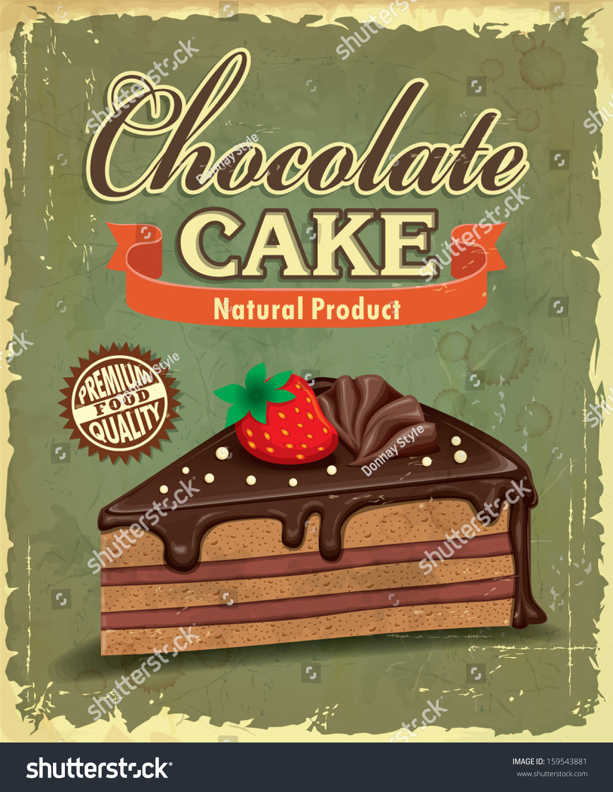Vintage Chocolate Cake Poster Design Stock Vector