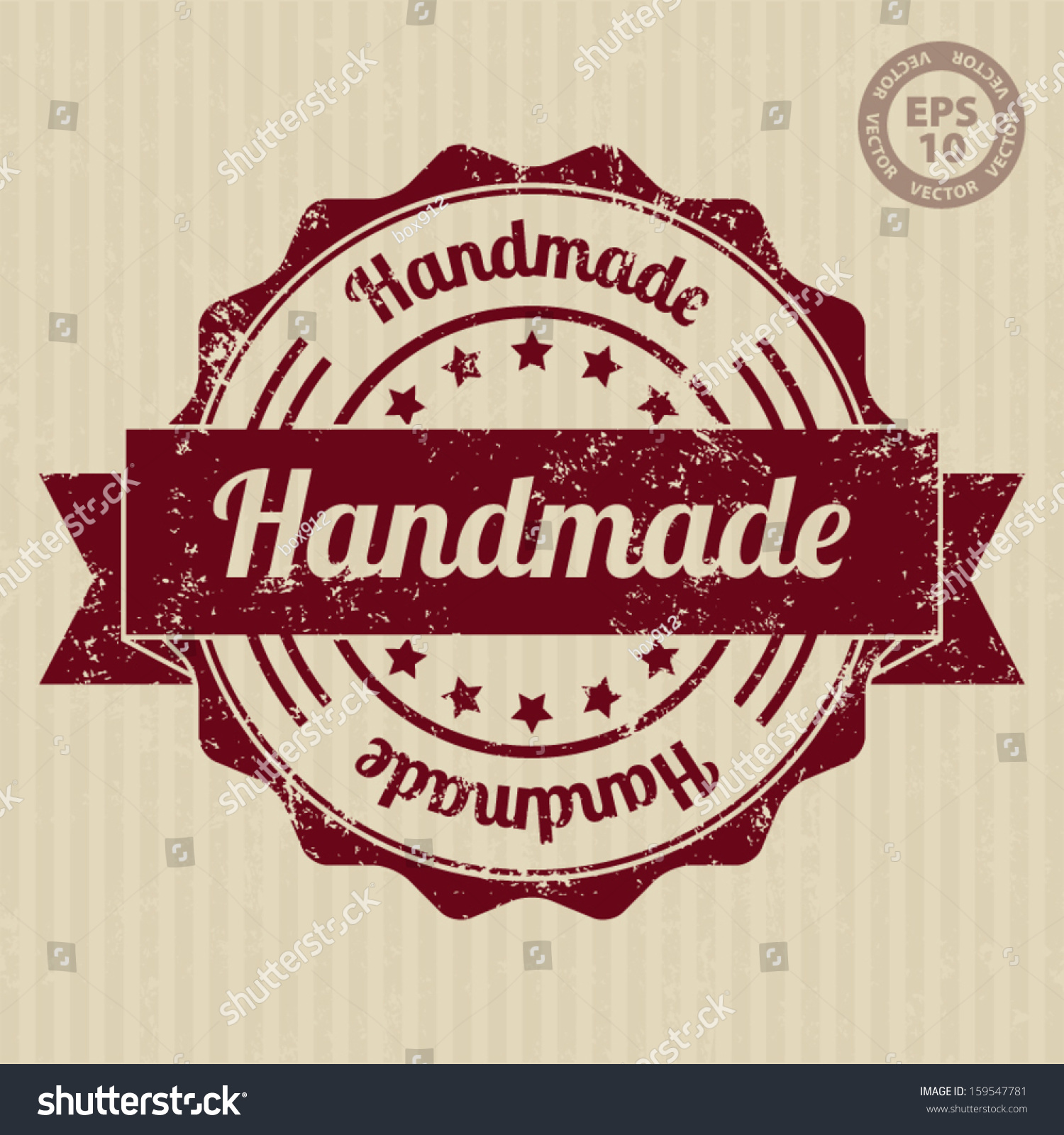 Easy Hand Mades Stock Vector Handmade Vintage Stamp With Grunge Vector