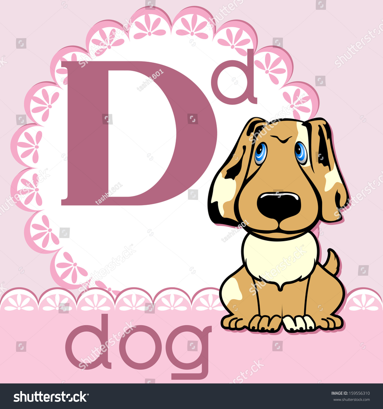 Alphabet Letter D Dog On Pink Stock Vector (Royalty Free) 159556310 ...