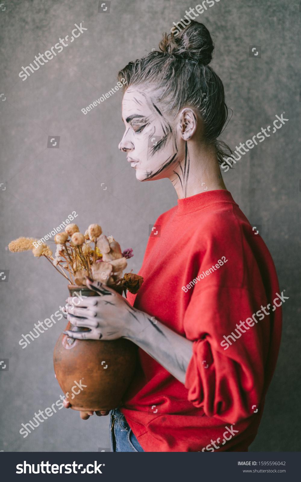 Lovely Young Girl Skeleton Body Art Stock Photo Edit Now 1595596042