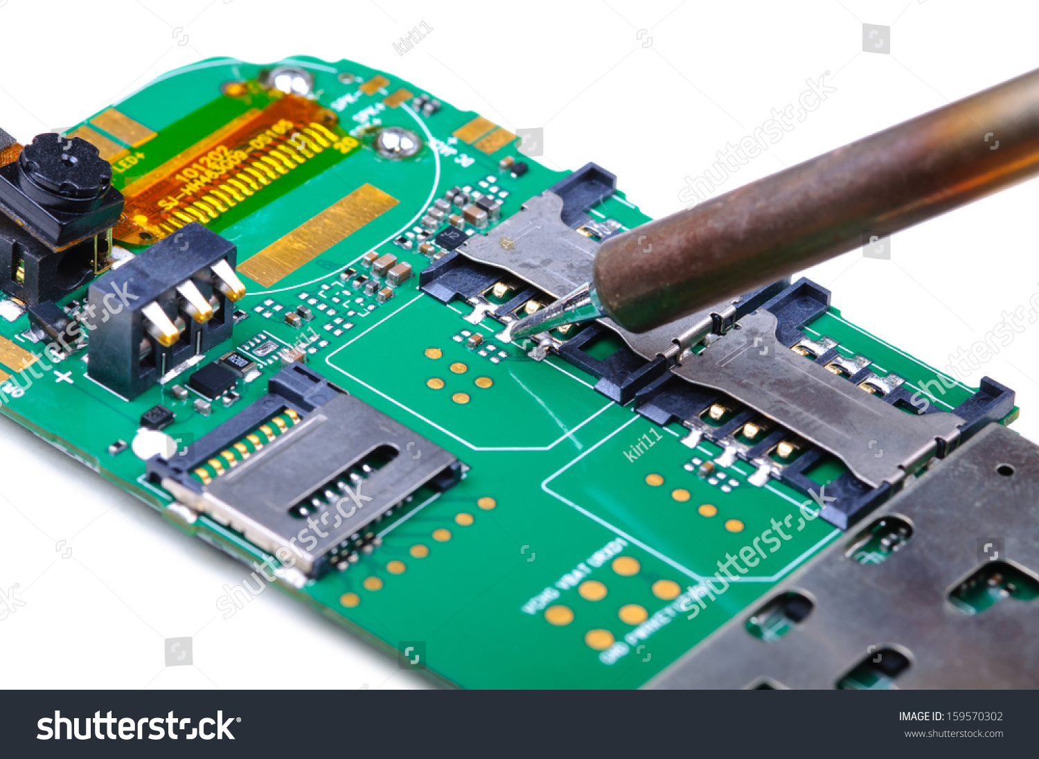 Electronic Technician Repairs Sim Slot On Stock Photo Edit Now Integrated Circuit Chip Royalty Free Image Mobile Phone Board Close Up With Selective