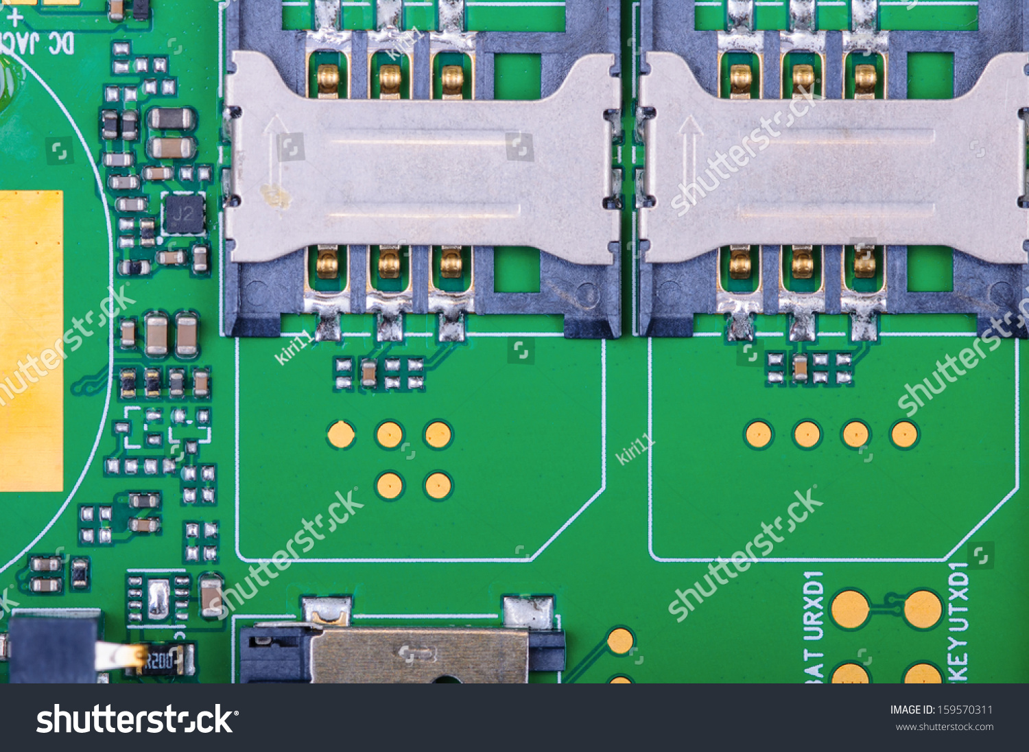 Mobile Phone Circuit Board Dual Sim Stock Photo Edit Now 159570311 Old Electronic Royalty Free Image With Slots Background Close Up